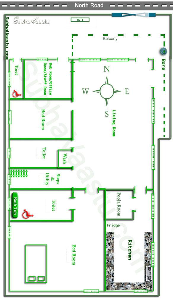 North facing vastu house plan House layout design