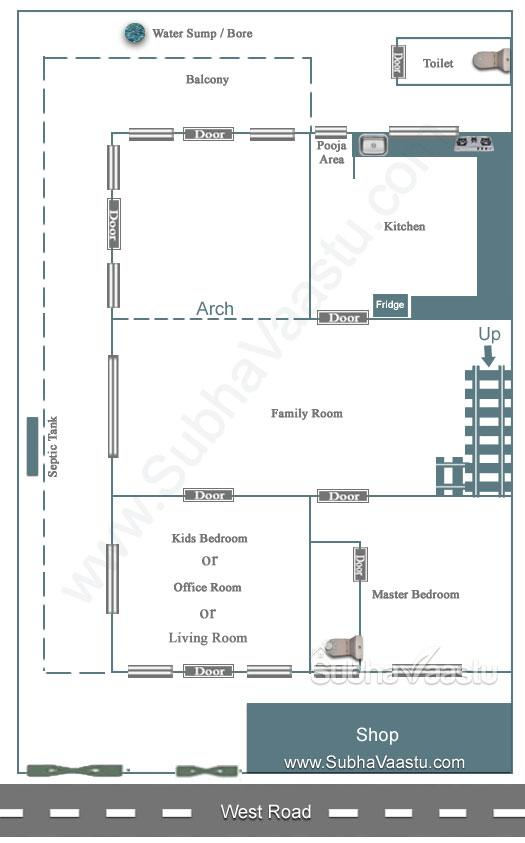 Single Bedroom House Plan For West Facing